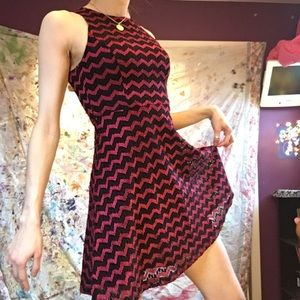 LAST CHANCE Red and Black zigzag Skater Dress